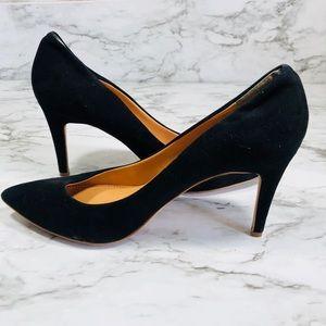J. CREW Black Suede Heels Size 8